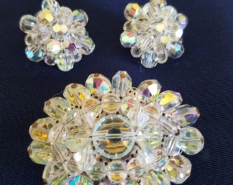Vintage 1950s Aurora Borealis Crystal Beaded Brooch and Earring Set, Vintage Crystal Demi Parure, Crystal Brooch/Earrings Set, Wedding Set