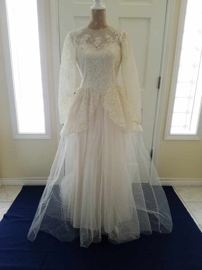 vintage 1940s wedding dress with cathedral train, bridal gown, ivory satin  skirt, lace peplum, illusion neckline, white tulle, lace buttons
