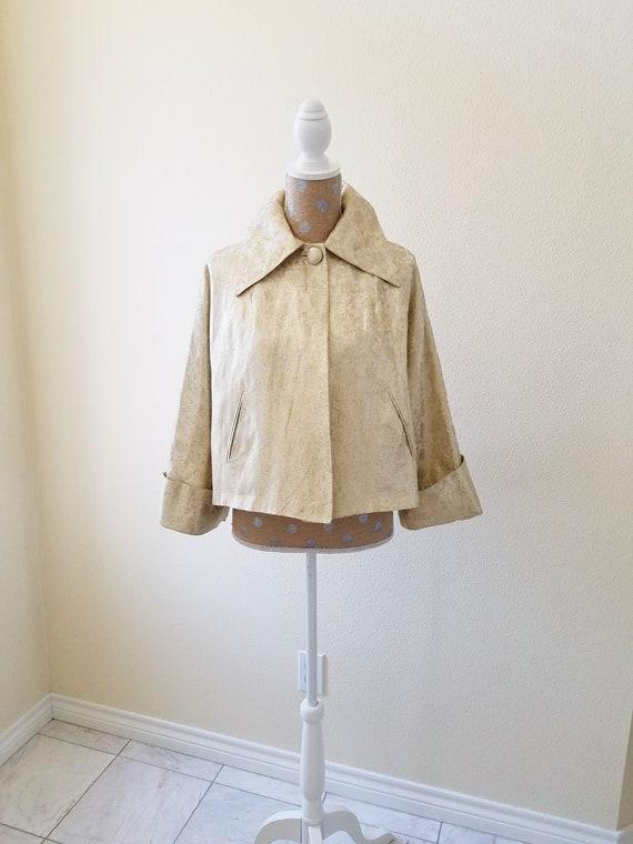 Vintage 1950s Gold Lame Jacket, Dressy Gold A Line