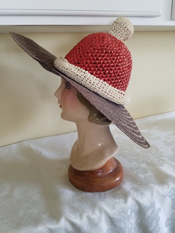 Vintage Italian Straw Wide Brim Santa's Summer Hat