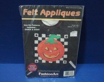 Halloween Felt Appliques Kit- Checkered Pumpkin