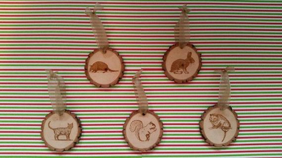 5 Engraved Wood Christmas Ornaments Rabbit Opossum Armadillo Squirrel Cat