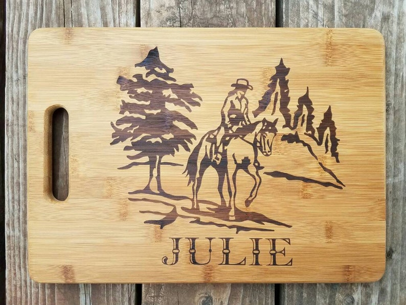 Personalized Laser Engraved Trail Riding Horse Bamboo Cutting Board gift Friend Birthday Christmas Kitchen Country Cowgirl Western