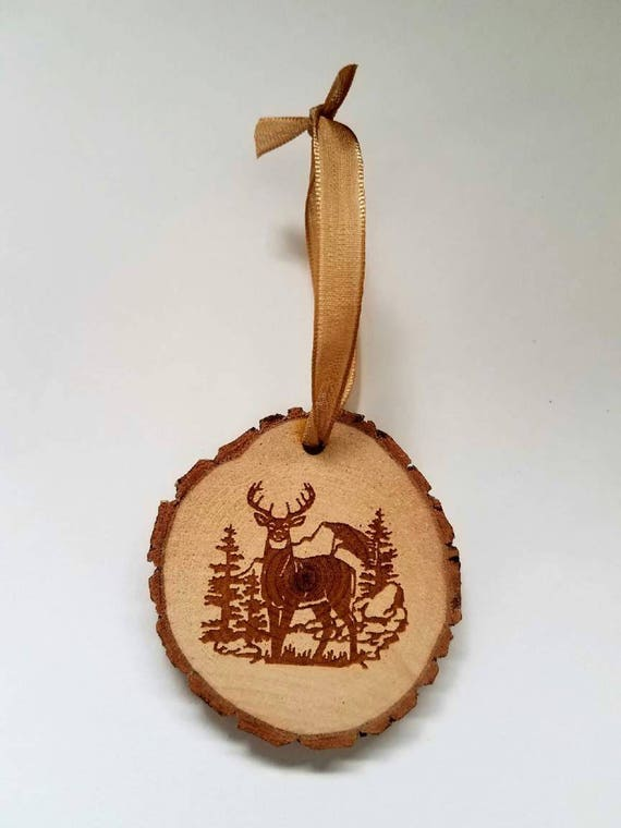 5 Rustic Wood Christmas Ornaments Deer Collection Buck Doe Country Hunting