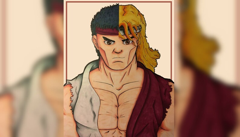 Street Fighter Kenryu Half And Half Print Etsy