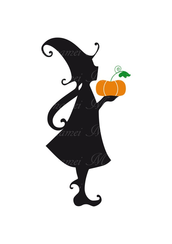 Digital Image Little Witch Silhouette Clip