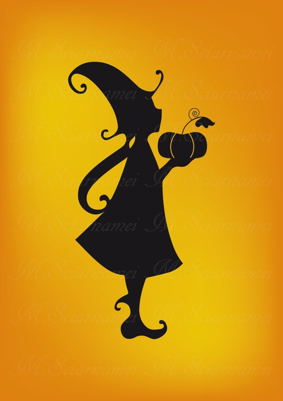 Witch Silhouette Printable Instant Download Wall Decor Clip