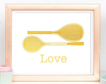 Tennis Gifts, Wall Art Prints, Sports Decor Wall Art, Gold Foil Print, Love Tennis Racket, Coach Gift, Large Poster, Home Decoration