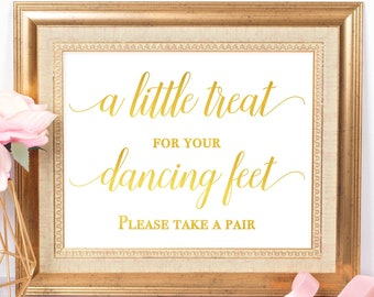 Flip Flop Wedding Sign For Guests Gold Foil Print Beach Wedding Signage Wedding Favors A Little Treat For Your Dancing Feet Shoes For Guests