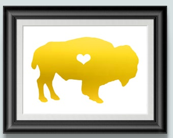Water Buffalo Print, Gold Foil prints, Animal Art, Home Decor, NY, Bison, Team Buffalo