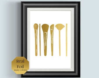 Makeup Brushes, Bathroom Wall Decor, Rose Gold Foil Print, Make Up, Girly Wall Art, Cosmetology Gifts, Beauty Salon Decor