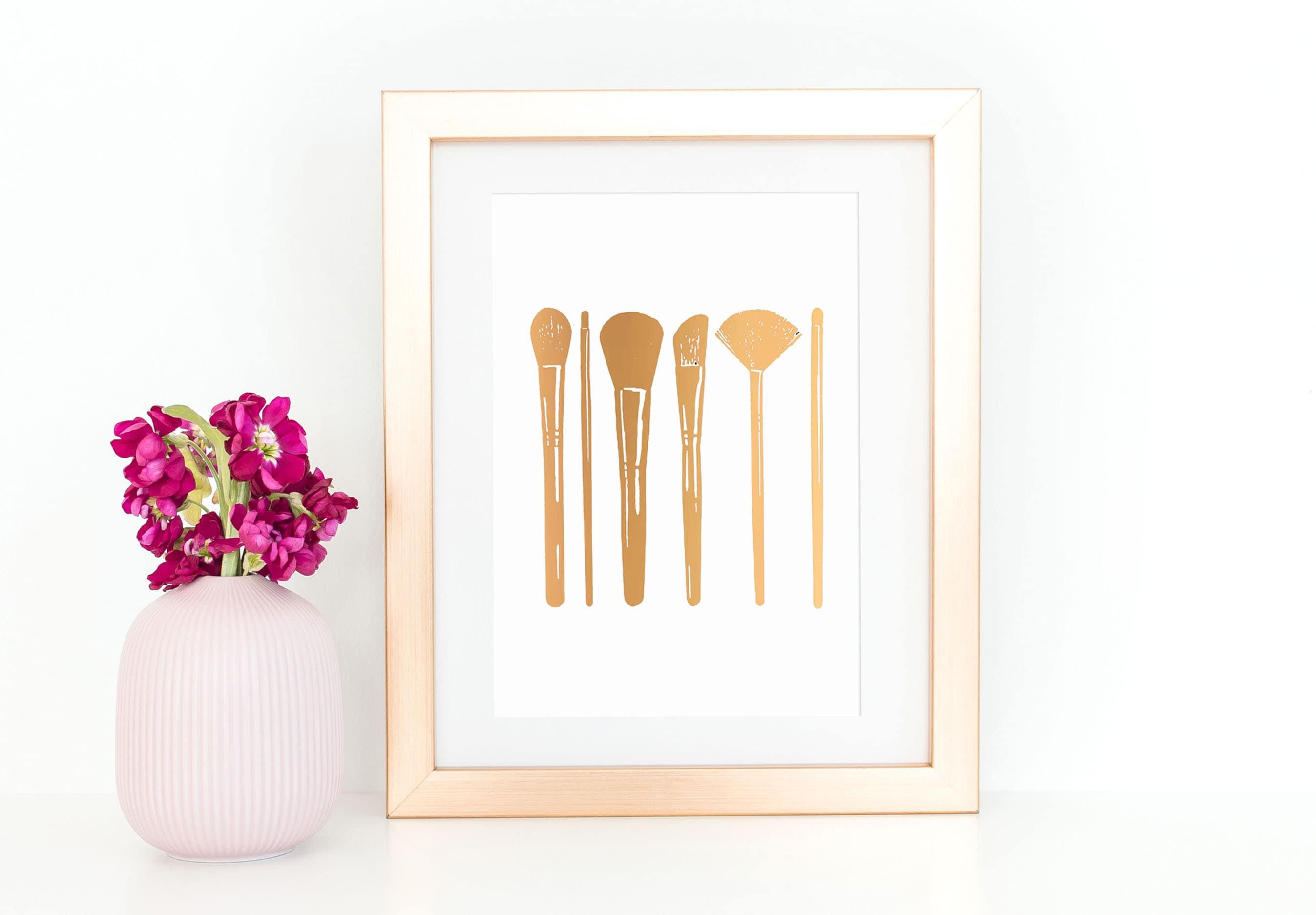 44d63549046c Makeup Brushes Bathroom Wall Decor Rose Gold Foil Print