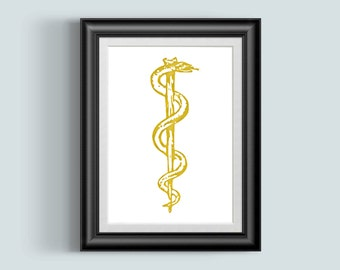 Rod Of Asclepius Print, Medical Student Gift, Gold Foil Print Doctors Office Decor Physician Assistant Art Poster Nurse Gift, Staff
