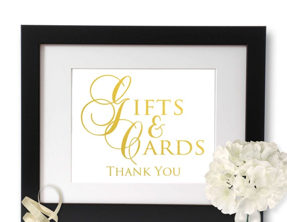Cards And Gifts Sign Gold Foil Wedding Signage Birthday Etsy