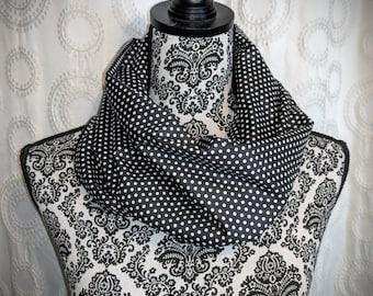 Polkadot infinity scarf, polkadots scarf, rockabilly neck scarf, pinup accessories, pin up head wrap, betty fashion, retro gift, geek, chic