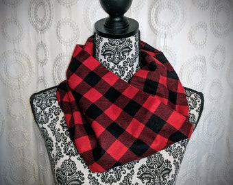 Plaid lumberjack infinity scarf, red plaid scarf, hipster scarf, flannel scarf, red and black scarf, buffalo plaid, lumberjack plaid, trendy