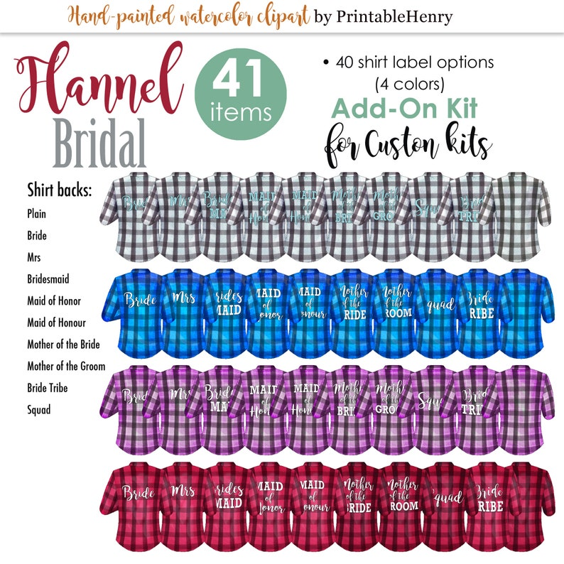 Bridesmaid flannel shirt ADD-ON KIT maid of honor ask bridesmaid proposal mother of the bride customizable clipart gift PrintableHenry