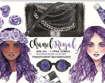 Coco Chanel clipart Chanel handbag clipart planner graphics glam clipart fashion graphics purple hair fashion illustration Printablehenry