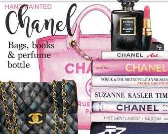Coco Chanel clipart Chanel perfume glam clipart fashion graphics planner graphics Chanel handbag clipart fashion illustration Printablehenry