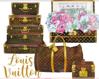 Louis Vuitton clipart, LV clipart, fashion clipart, planner clipart, suitcase clipart, Louis Vuitton, glam planner graphics, PrintableHenry