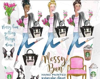 Messy bun fashion graphics Starbucks drink clipart fashion clipart boston terrier planner graphics Celine handbag clipart PrintableHenry