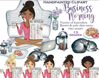 Girl boss lady clipart glam clipart lazy weekend fashion clipart planner girl graphics coffee cat African American clipart PrintableHenry