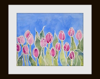 Watercolor Print  Pink Tulips painting, Watercolor and Wax Resist, Batik Print