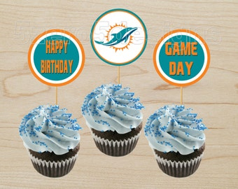 Miami Dolphins Cup Cake Toppers NFL Party Digital Download