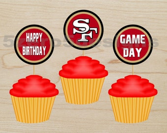 San Francisco 49er Cup Cake Toppers 49ers Topper Nfl Cupcake
