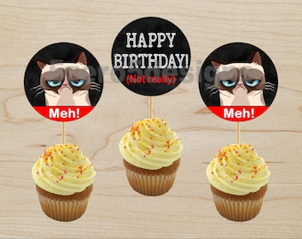 Grumpy Cat Cupcake Toppers, Grumpy Cat Party, Grumpy Cat Birthday, Grumpy Cat Birthday Party, DIGITAL DOWNLOAD