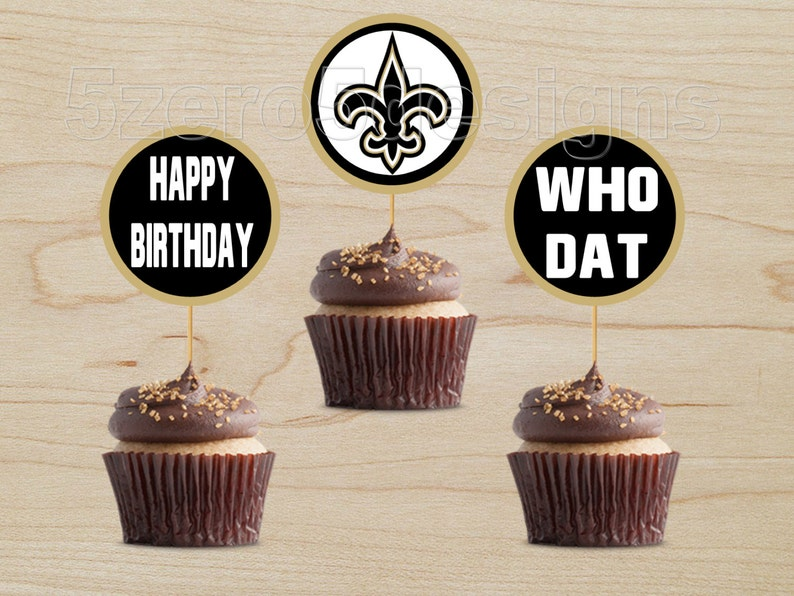 Saints Cupcake Topper New Orleans Party
