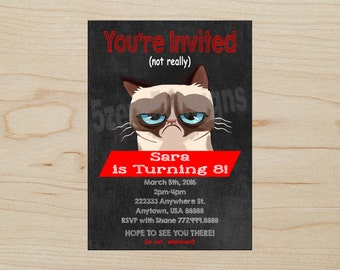 Grumpy Cat Invitation, Grumpy Cat Birthday Party, Grumpy Cat Party, DIGITAL DOWNLOAD