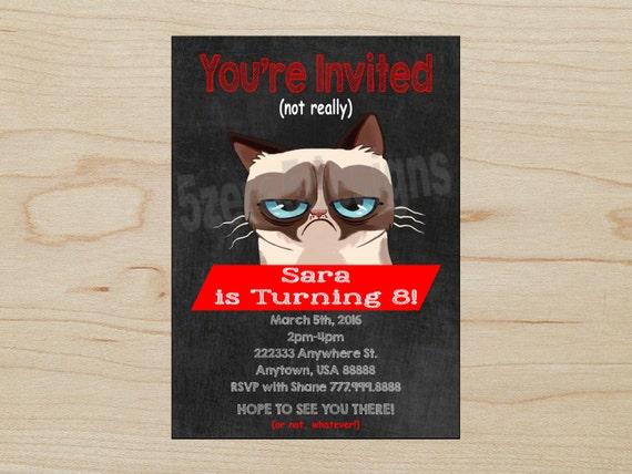 Grumpy Cat Invitation Grumpy Cat Birthday Party Grumpy Cat Etsy
