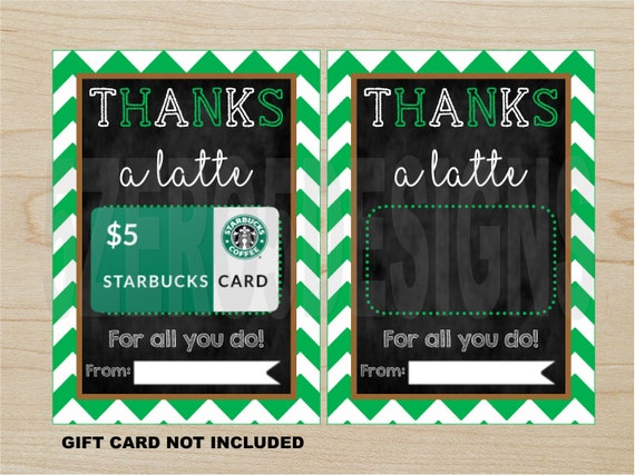 Printable Thanks A Latte Thank You Card Teacher Appreciation Etsy