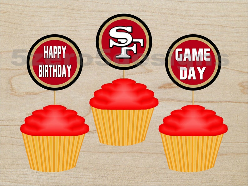San Francisco 49er Cup Cake Toppers 49ers Topper