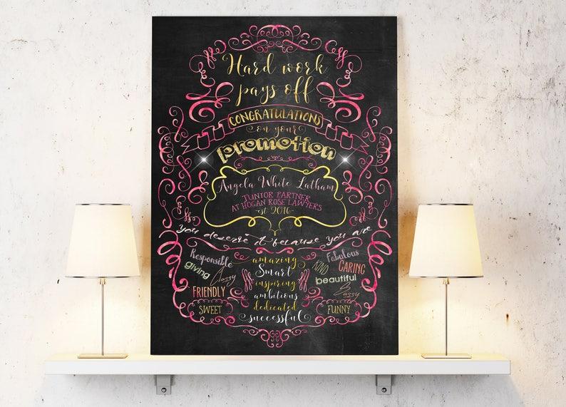 Spersonalizowane Plakat Gratulacje Promocja Promocja Firm Dodatek Prezent Promocja Pracy Wydarzenie Z życia Plakat Do Wydrukowania Wysokiej