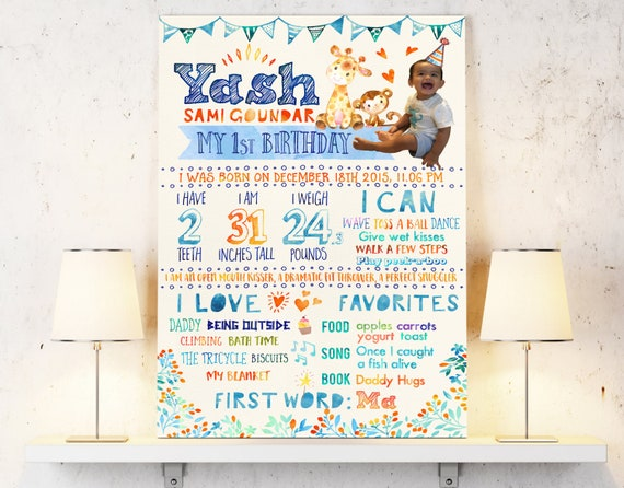 baby poster with one year old stats baby first birthday sign etsy