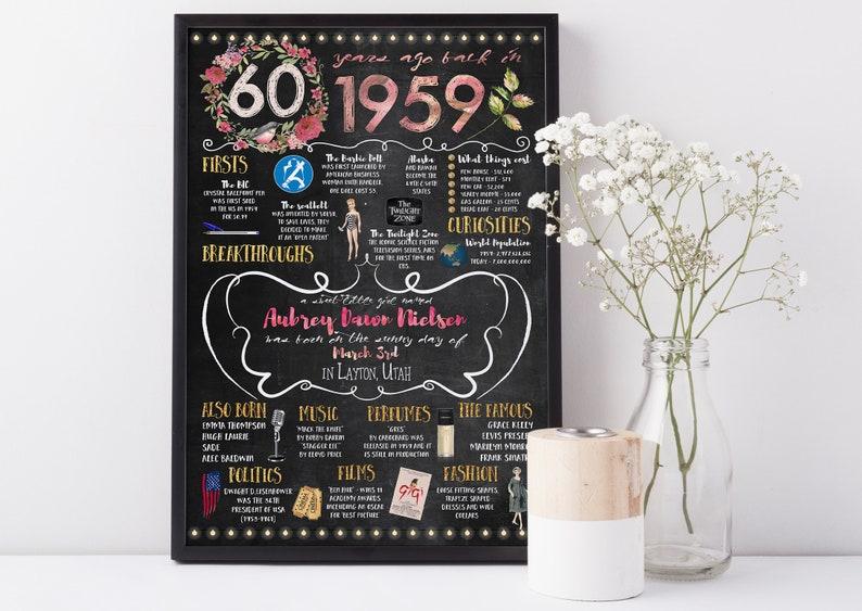 Personalized 60th 1959 Birthday Poster Women Version Mom 60th birthday gift Birthday gift for mother or wife Milestone Birthday
