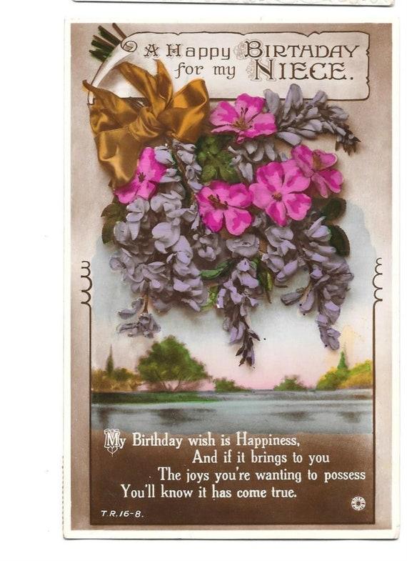 Carte Postale Voeux Joyeux Anniversaire Pour Ma Nièce C Années 1930 936 D