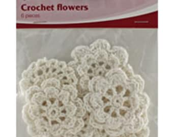 Crochet Flowers - 6 assorted flowers in pack - off white