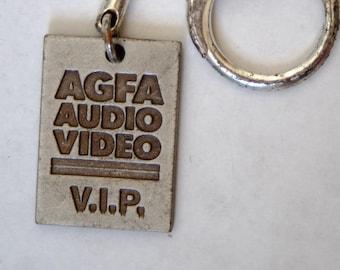 Vintage Promotional Key Ring Metal Agfa Audio Video