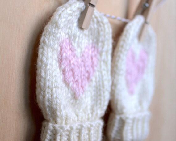 Pdf Baby Love Heart Mittens Knitting Pattern Etsy
