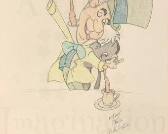 Walt Disney Animated Alice in Wonderland Inspired Character Art - Wall Art - Artist Sketches