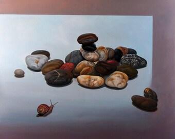 36x40 ORIGINAL ART | Large wall art | Snail stones Painting on Canvas | Oil NaturePainting | Large size painting | Original Artwork