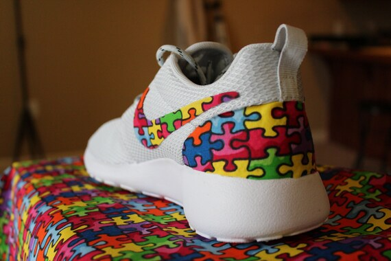 Details about Custom Nike Roshe Run Shoe New Autism Awareness Puzzle Pieces Colorf Exclusive