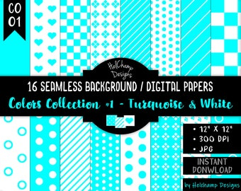 16 Turquoise and White Digital Papers - High Quality JPEG Papers, Seamless Scrapbook paper, Commercial use - CO-Turquoise / CO1