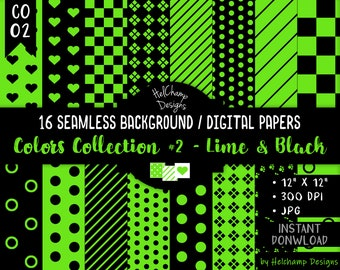 16 Lime and Black Digital Papers - High Quality Green Lime and Black JPEG Papers, Seamless Scrapbook paper, Commercial use - CO-Lime / CO1