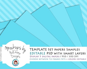 High Quality Mockup for 5 Digitals Papers Sample, perfect for your seller shop, 1 PSD file with smart object (PA-01)