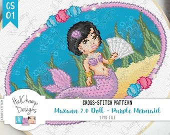 Cross-stitch pattern - Purple Mermaid Maxann 2.0 doll, Under the sea with seashells - CS-01