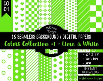 16 Lime and White Digital Papers - High Quality Green and White JPEG Papers, Seamless Scrapbook paper, Commercial use - CO-Lime / CO1